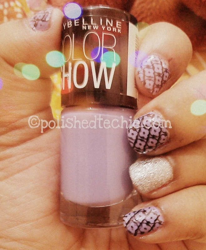 Lavender Silver Stamping nail art by Rajani Polished Techie