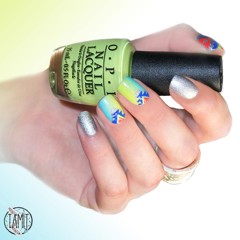 Neon'tastic aztec. nail art by Paulina