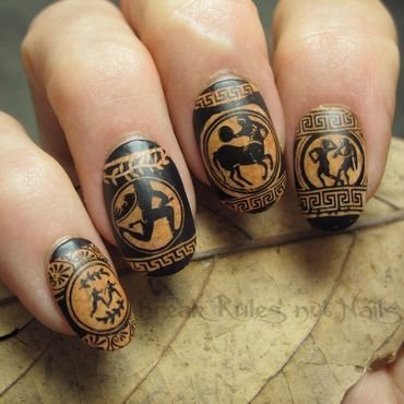 Ancient Greek pottery nail art by Michelle
