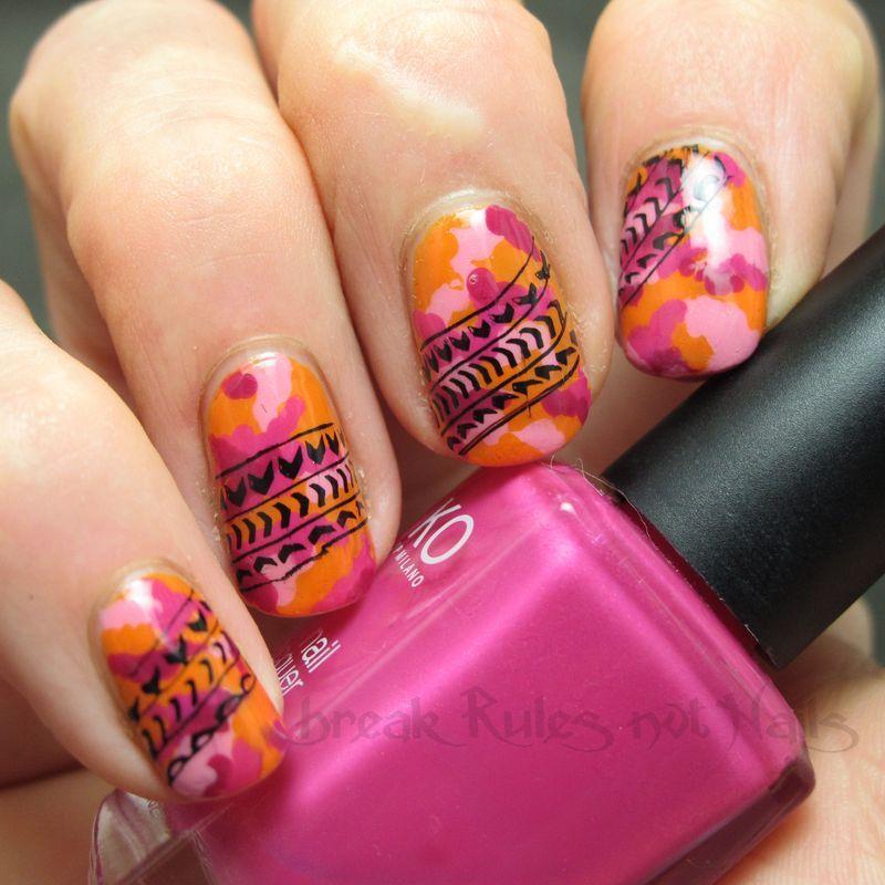 Pink kamo tyre print nail art by Michelle