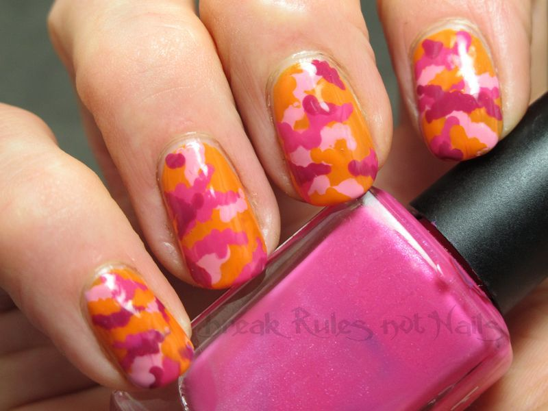 Pink kamo nail art by Michelle