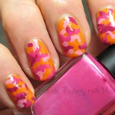 Pink kamo nail art by Michelle
