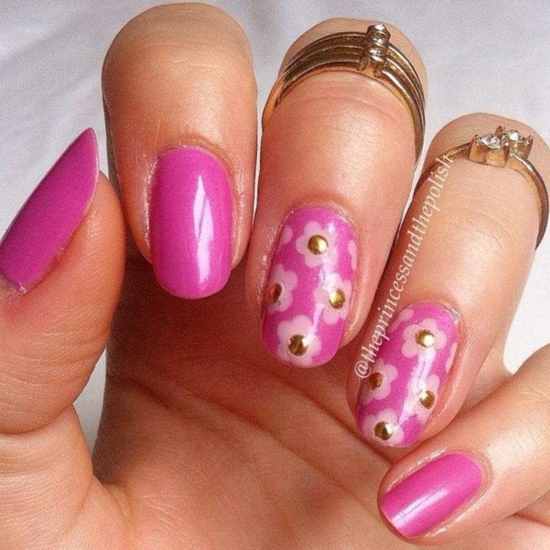 Pink flowers nail art by Alexandra