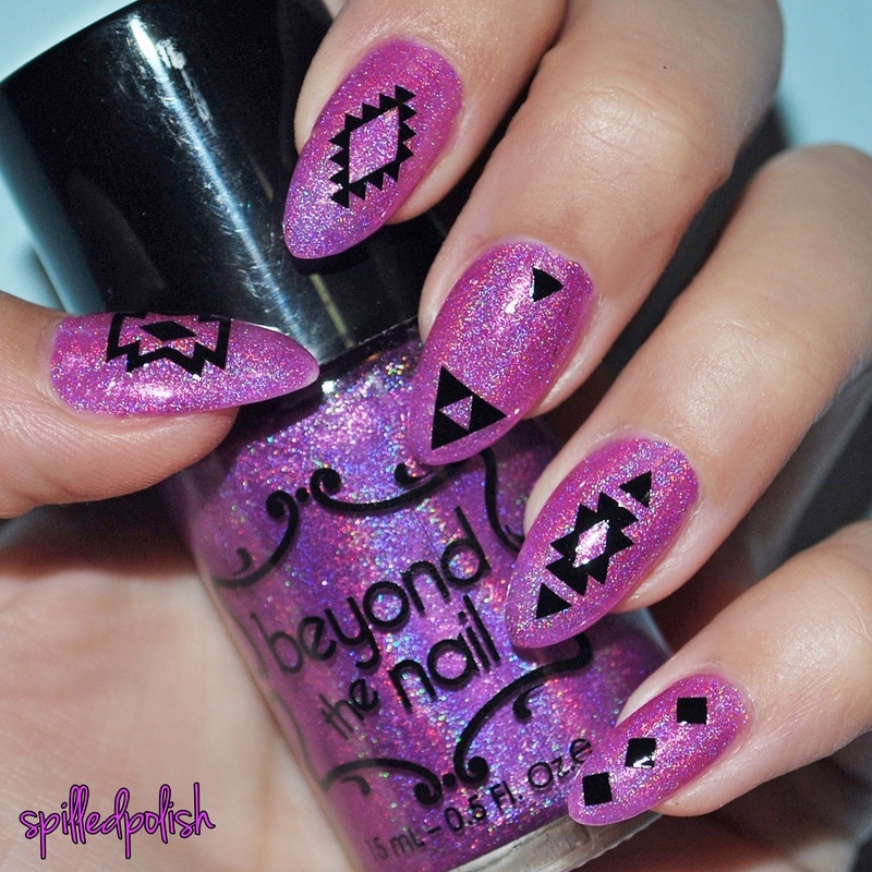 Holographic Aztec Nails nail art by Maddy S