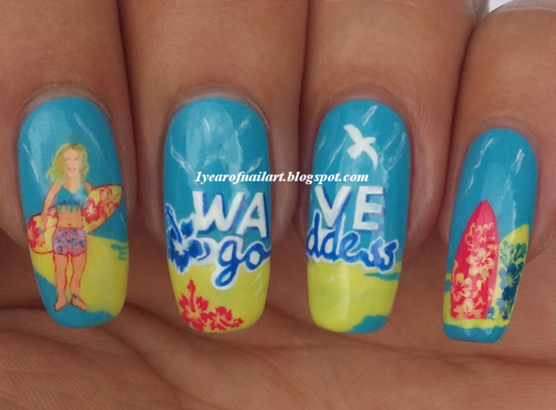 Wave Goddess nail art by Margriet Sijperda