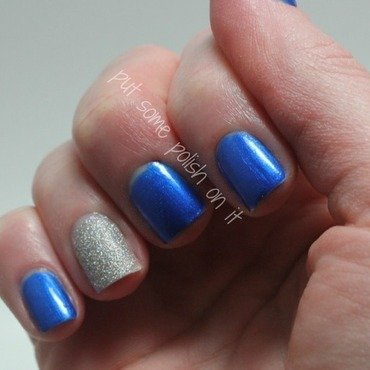 glitter and blue nail art by Crystal