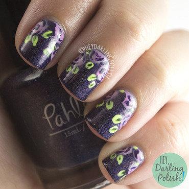Purple Roses nail art by Marisa  Cavanaugh