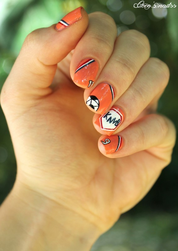 Netherlands nails for world cup :) nail art by Cocosnailss