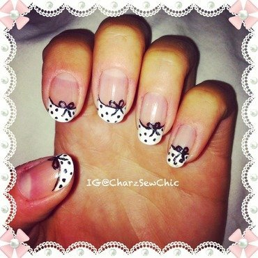 French bows nail art by Charlotte Speller