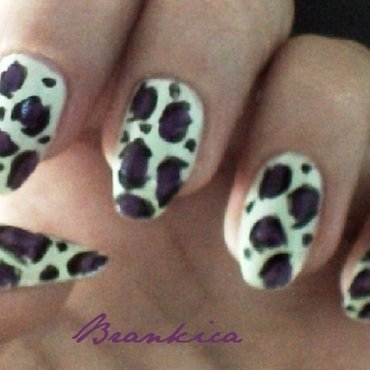 Mint purple leopard nail art by Brankica