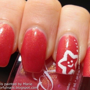 Pink with Starfish Nail Art nail art by Marie