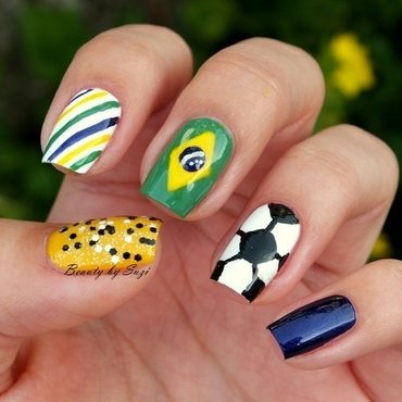 Inspired by FIFA World Cup 2014 nail art by Suzi - Beauty by Suzi