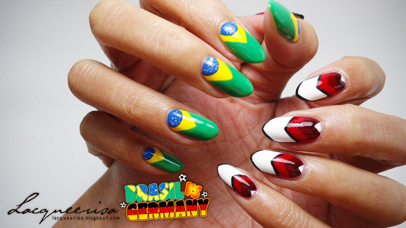Brasil vs Germany Nails nail art by Lacqueerisa