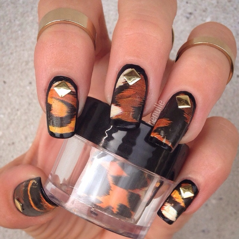 Leopard nailfoils with Golden studs nail art by Henulle