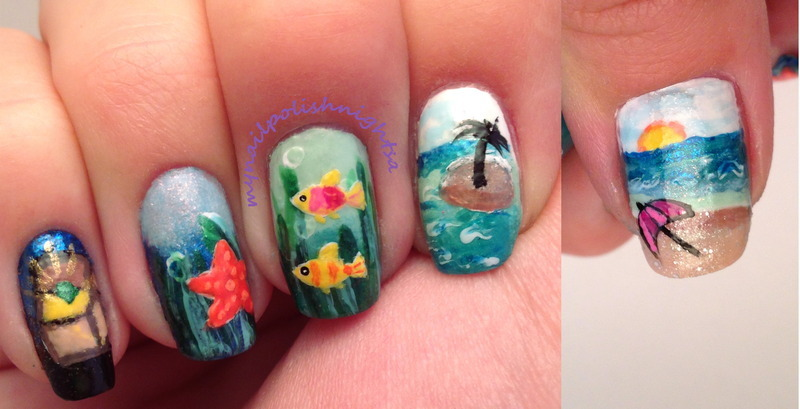 Exploring the sea nail art by Anna Malinina