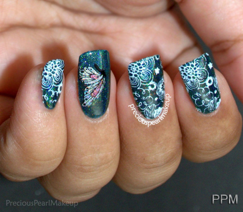 Holo Flowers and Butterfly nail art by Pearl P.