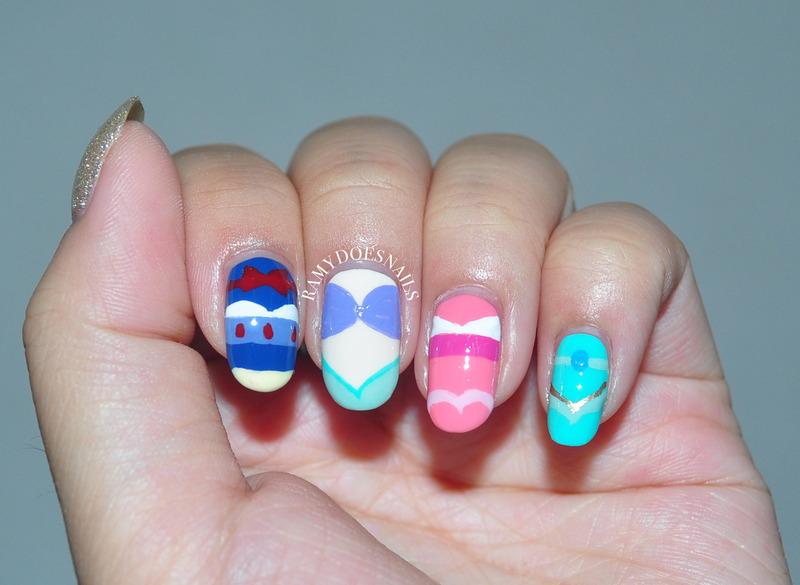 Minimalist Disney Princesses nail art by Ramy Ang