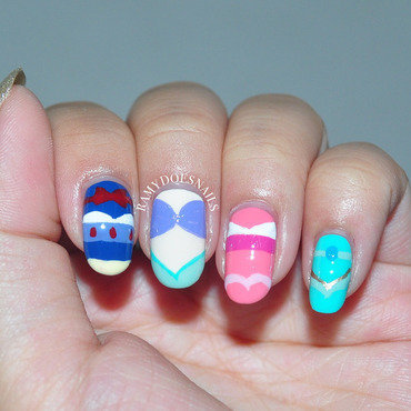Minimalist Disney Princesses nail art by Ramy Ang