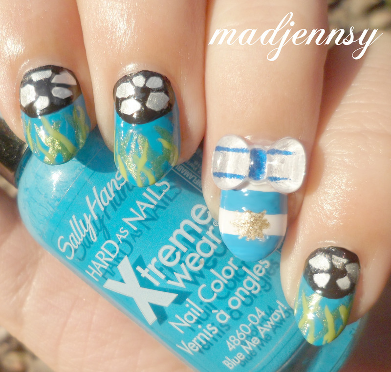 World Cup Nail Art #ARGENTINA! nail art by madjennsy Nail Art