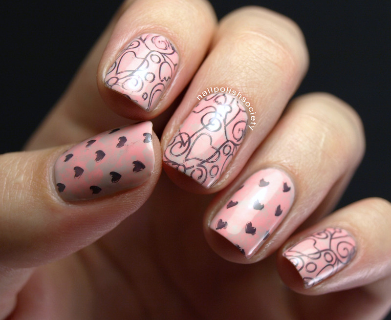 Acid Washed Hearts nail art by Emiline Harris