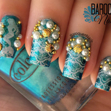 Mystic Mermaid nail art by BaroquenNails