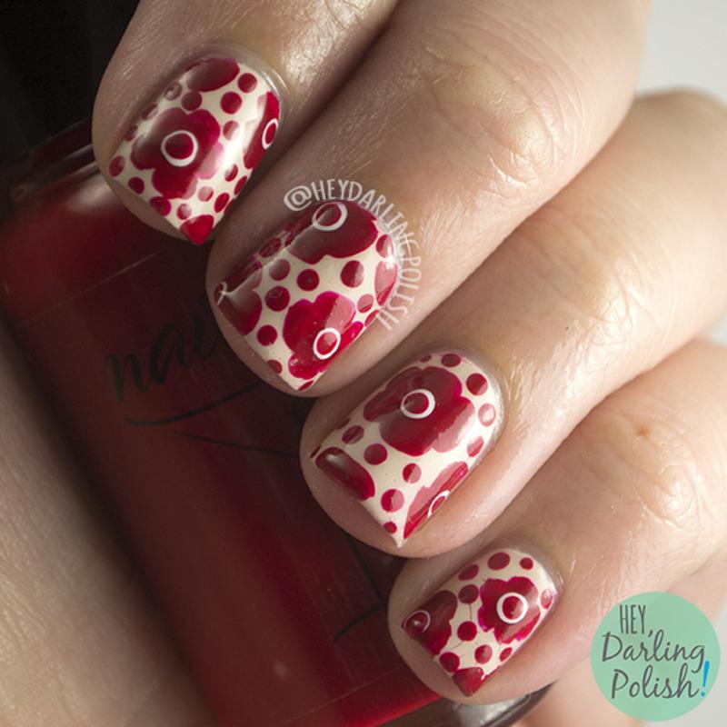 Red Floral nail art by Marisa  Cavanaugh