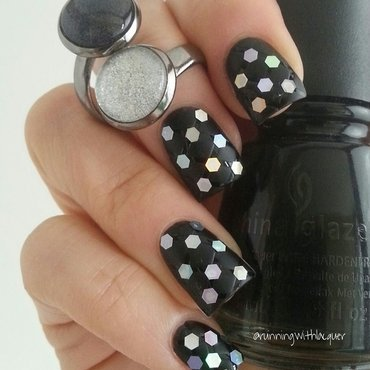 Quilted with glitter placement nail art by Debbie D