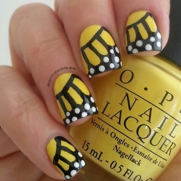 Yellow Butterfly nail art by Debbie D