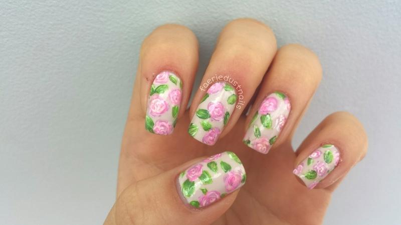 Roses nail art by Shirley X.