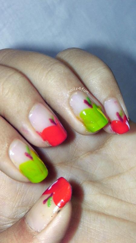 Apple Nail tutorial nail art by Nailz4fun