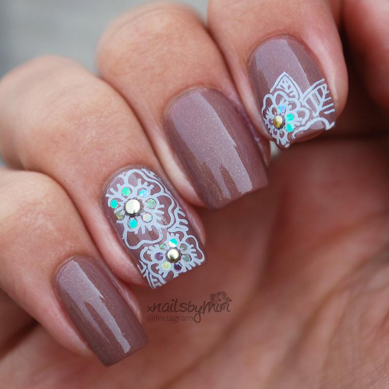 Brown white flower stamp nail art by xNailsByMiri