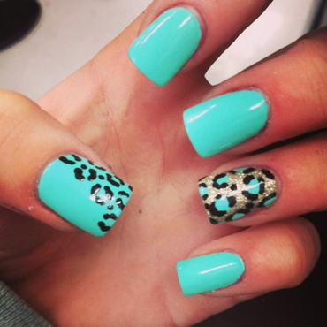Gold Cheetah nail art by hannah_kay23
