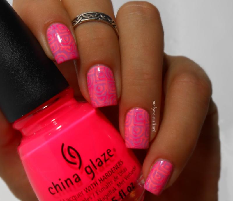 stamping neon nail art by melyne nailart