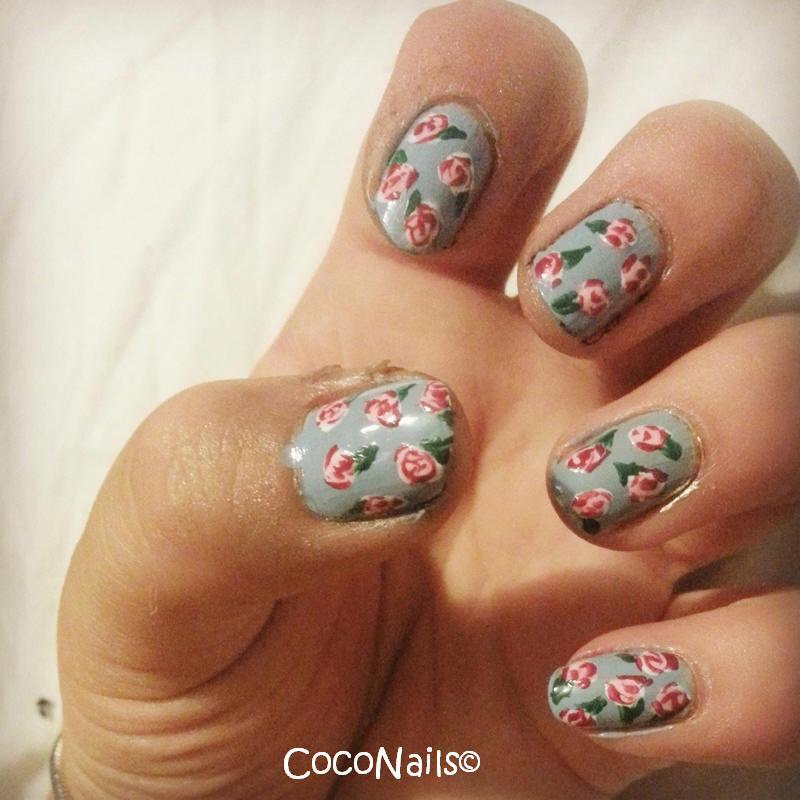 Nail Arts By Rozemist Cath Kidston Vintage Inspired: Cath Kidston Style Rose Nails Nail Art By Chloe Lewis