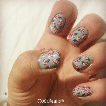 Cath Kidston Style Rose Nails  nail art by Chloe Lewis
