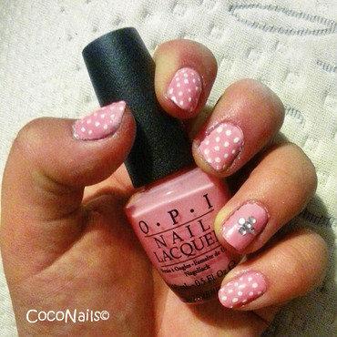 Pretty and Pink polka dots nail art by Chloe Lewis