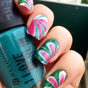 Watermelon inspired water marble :) nail art by Arlett