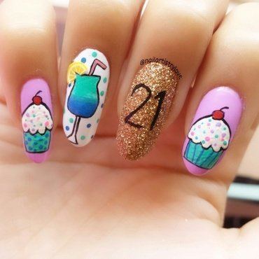 21st Birthday nail art by Julia