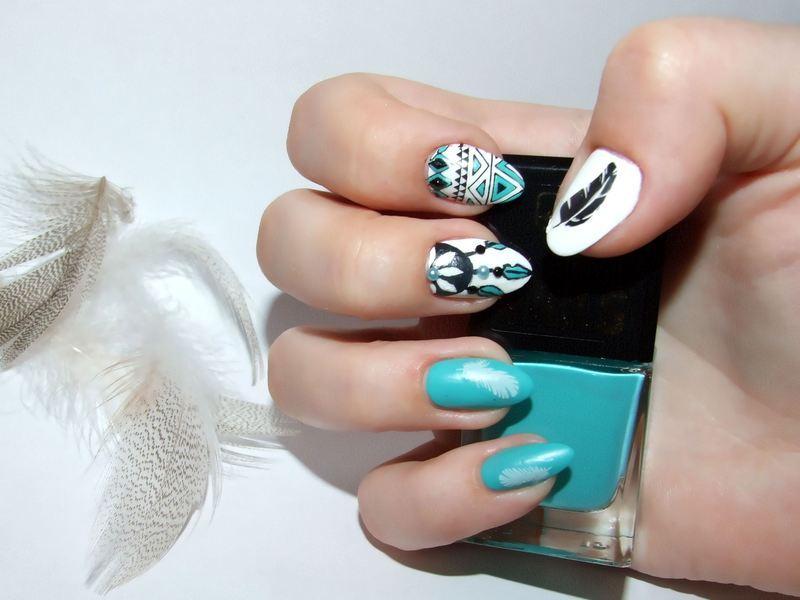 Dreamcatcher nail art by Paulina Domoradzka