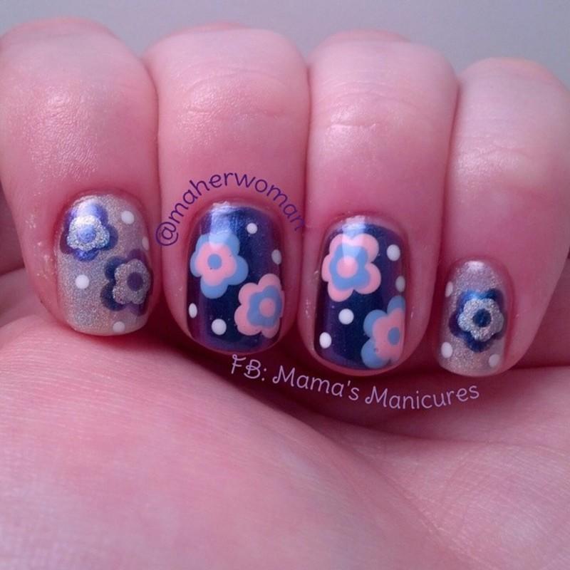 Flowers Mani Swap nail art by Mama's Manicures (maherwoman)