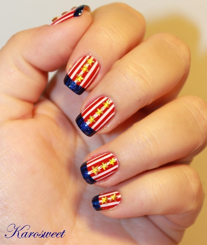 4th of july nail art by Karosweet