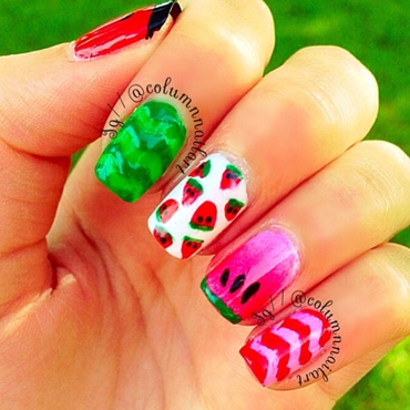 Watermelon Nails nail art by Carly Morgan