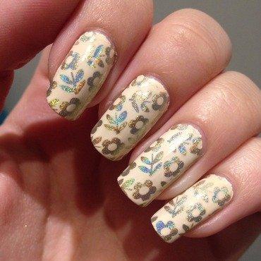 Peachy flowers nail art by Marissa Jansen