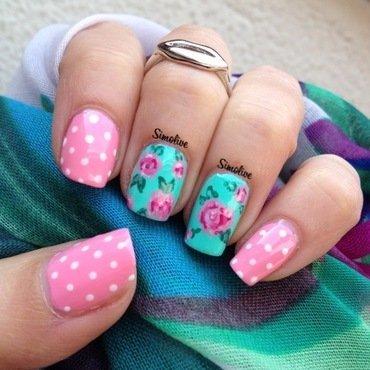 Roses and dots nail art by Simona