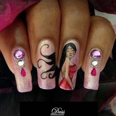 Lady in Red nail art by Dess_sure