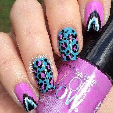 Ikat-Leopard Mix-and-Match nail art by PolishedJess