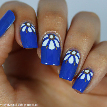 Half Moon Flowers nail art by Vicky Standage