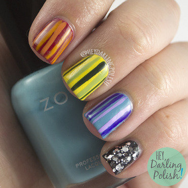 Rainbow stripes glitter nail art 4 thumb370f