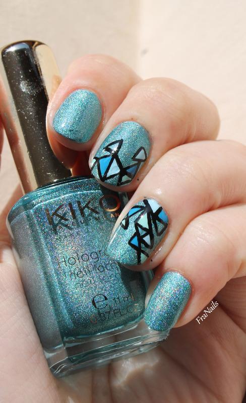 Geometric holo nail art by Fran Nails