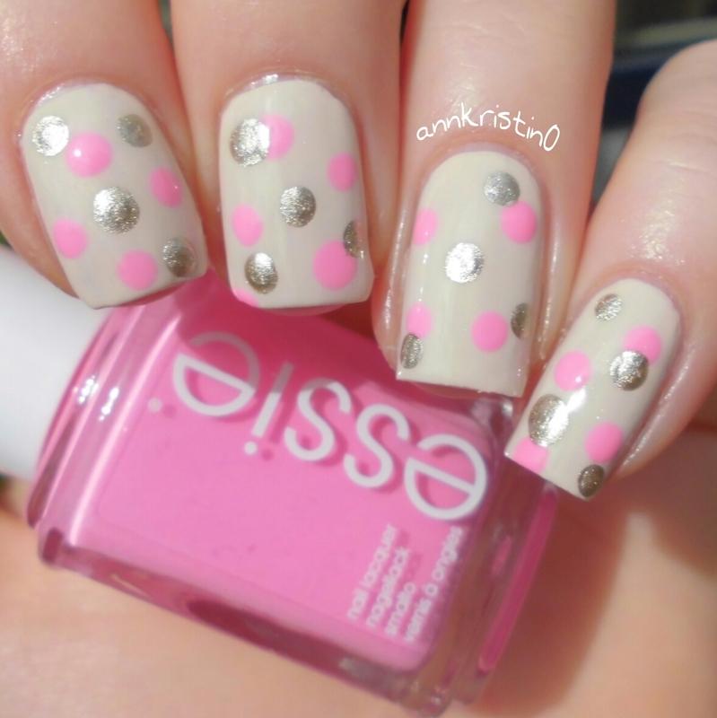 Pink Gold Dotticure nail art by Ann-Kristin